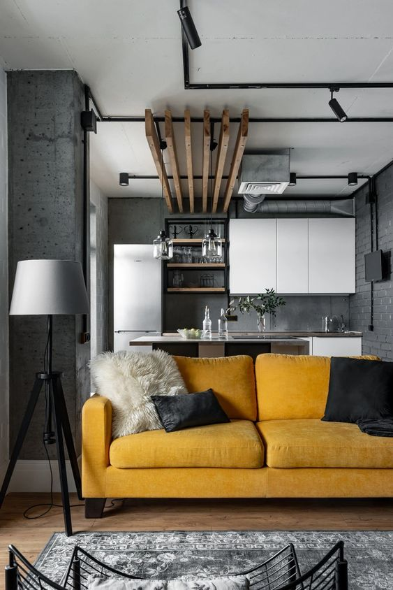 yellow grey design living room