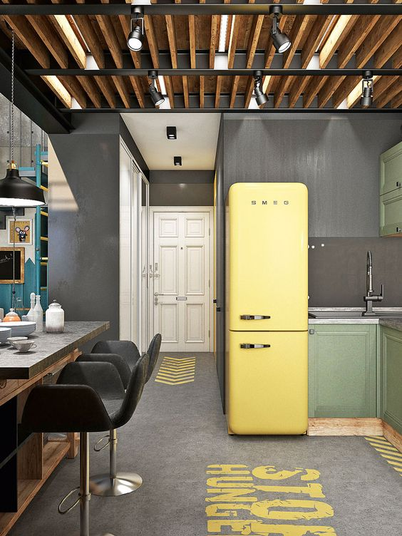 yellow grey pantone kitchen